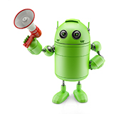 Green Android with Megaphone