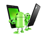 Two green Androids with Tablets