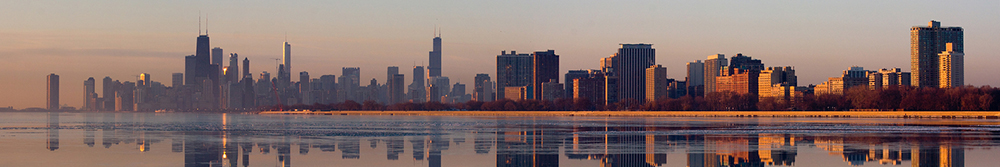 Chicago Skyline Lake Reflection
